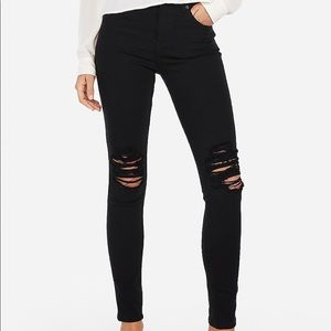 Express High Waisted Black Ripped Jeggings